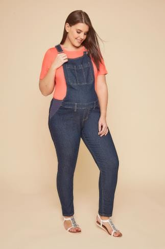 Jeans und Jeggings BUMP IT UP Indigo Blue Denim Super Stretch Dungarees With Pockets 158043