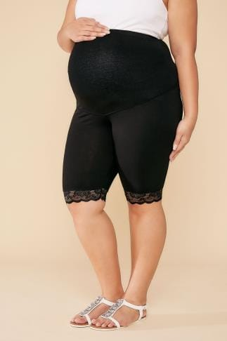 Leggings BUMP IT UP MATERNITY Black Cotton Elastane Legging Shorts With Comfort Panel 056328
