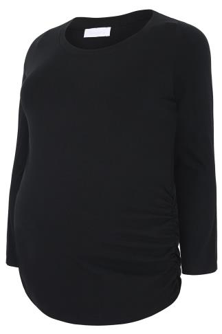 BUMP IT UP MATERNITY Black Cotton Long Sleeved Top