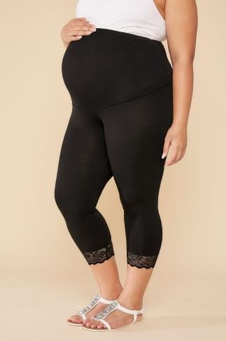 Leggings BUMP IT UP MATERNITY Black Cropped Leggings With Lace Trim 056324