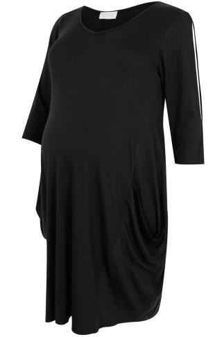 BUMP IT UP MATERNITY Black Drape Pocket Cold Shoulder Dress