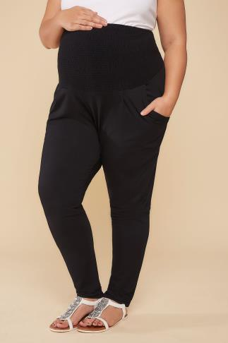 Trousers BUMP IT UP MATERNITY Black Harem Trousers With Elasticated Ruched Comfort Panel 158040