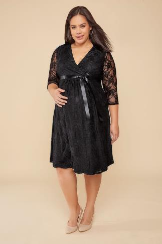 Dresses BUMP IT UP MATERNITY Black Lace Wrap Dress With Ribbon Tie 158014