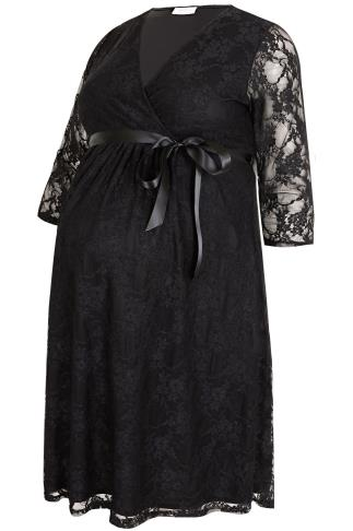 BUMP IT UP MATERNITY Black Lace Wrap Dress With Ribbon Tie