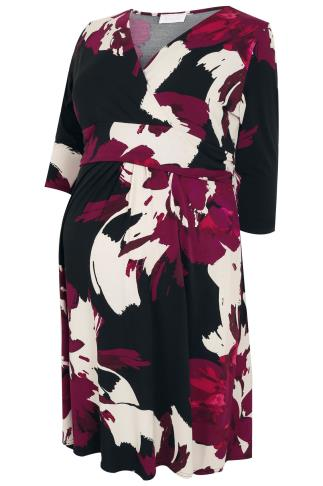 BUMP IT UP MATERNITY Black & Multi Floral Print Wrap Dress