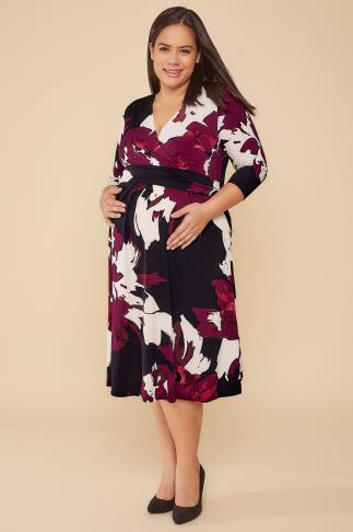 BUMP IT UP MATERNITY Black & Multi Floral Print Wrap Dress 103210