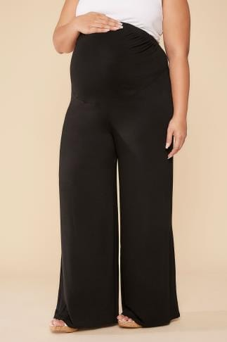 Trousers BUMP IT UP MATERNITY Black Palazzo Trousers With Comfort Panel 056346