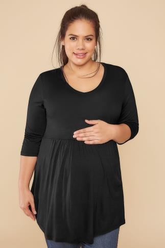 BUMP IT UP MATERNITY Black Ruched Waist Longline Top 158005