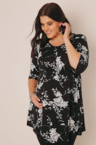 BUMP IT UP MATERNITY Black & White Floral Print Top With Self Fabric Tie Gathered Waist