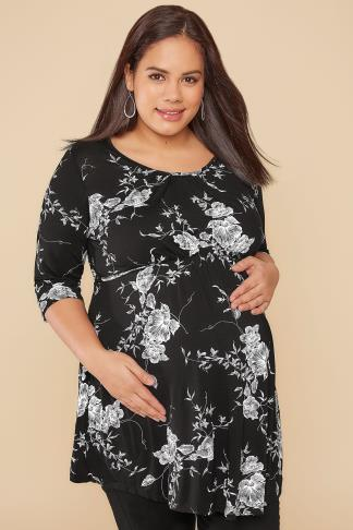 Tops & T-Shirts BUMP IT UP MATERNITY Black & White Floral Print Top With Self Fabric Tie Gathered Waist 158007