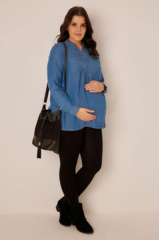 Tops & T-Shirts BUMP IT UP MATERNITY Blue Chambray Pintuck Top With Dipped Hem 100666