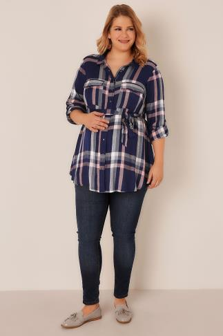 Tops & T-Shirts BUMP IT UP MATERNITY Blue & Pink Check Shirt With Waist Tie 158016