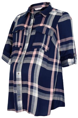 BUMP IT UP MATERNITY Blue & Pink Check Shirt With Waist Tie