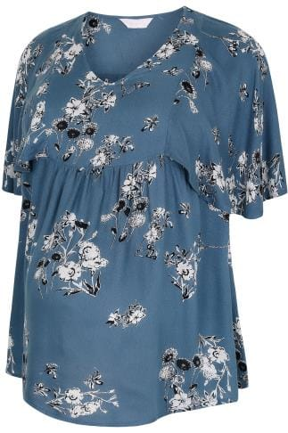 BUMP IT UP MATERNITY Blue & White Floral Print Cape Blouse