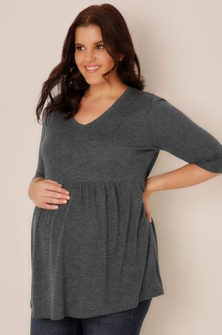 BUMP IT UP MATERNITY Charcoal Grey Ruched Waist Longline Top