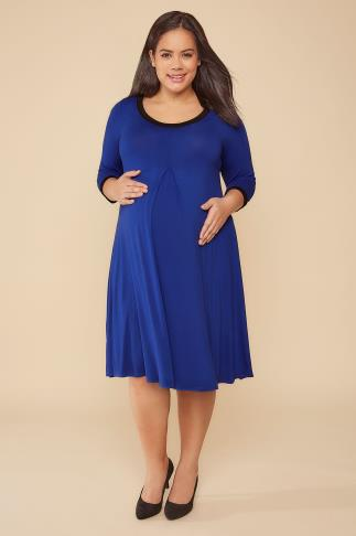 BUMP IT UP MATERNITY Cobalt Blue Pleat Detail Dress With Black Trim 158012
