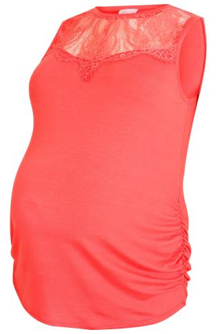 BUMP IT UP MATERNITY Coral Sleeveless Top With Lace Yoke