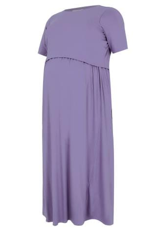 BUMP IT UP MATERNITY & Nursing Dusky Purple Maxi Double Layer Dress