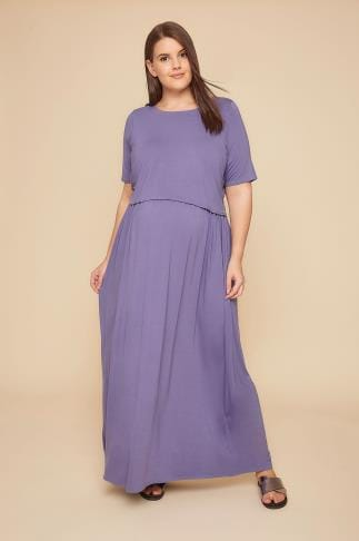 Dresses BUMP IT UP MATERNITY & Nursing Dusky Purple Maxi Double Layer Dress 158045