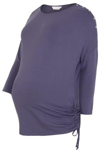BUMP IT UP MATERNITY Dusky Purple Top With Nursing Friendly Popper Shoulders
