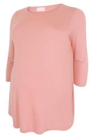 BUMP IT UP MATERNITY Dusky Pink Top With Pleated Back
