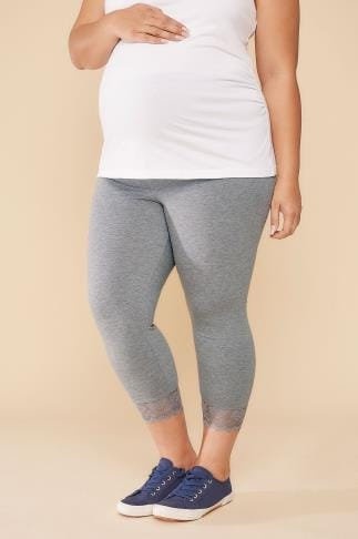 Leggings BUMP IT UP MATERNITY Grey Cropped Leggings With Lace Trim 056327