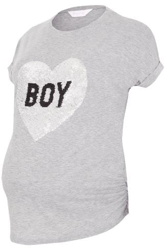 BUMP IT UP MATERNITY Grey Marl Girl/Boy Magic Sequins T-Shirt