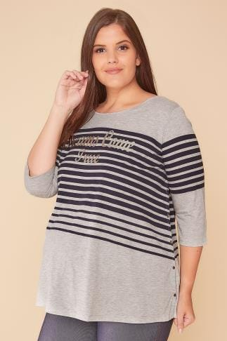 "Tops & T-Shirts BUMP IT UP MATERNITY Grey & Navy Stripe ""Dreams Come True"" Top With Nursing Friendly Popper Sides 158061"
