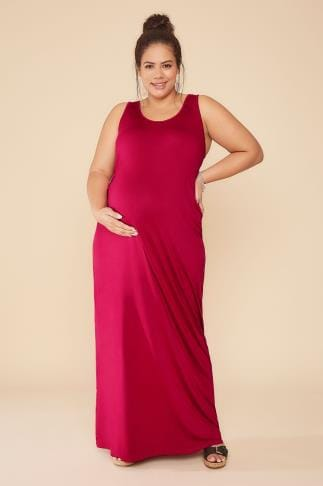 Dresses BUMP IT UP MATERNITY Magenta Maxi Dress With Ruched Waist Side Detail 056342