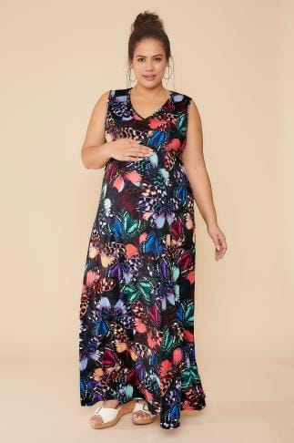 Dresses BUMP IT UP MATERNITY Multi Butterfly Print Maxi Dress 102187