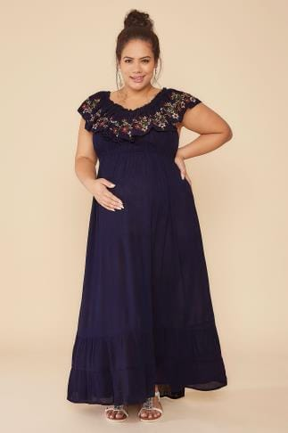 Dresses BUMP IT UP MATERNITY Navy Bardot Maxi Dress With Embroidered Frill Panel 158044