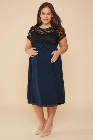 Dresses BUMP IT UP MATERNITY Navy Chiffon Dress With Black Lace Top 102200