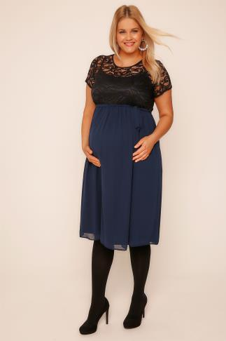 BUMP IT UP MATERNITY Navy Chiffon Dress With Black Lace Top