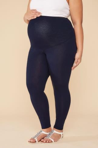 Leggings BUMP IT UP MATERNITY Navy Cotton Elastane Leggings With Comfort Panel 056321