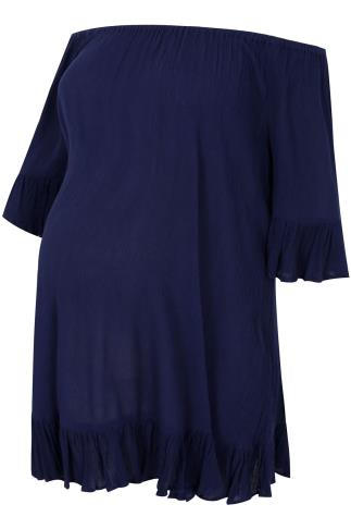 BUMP IT UP MATERNITY Navy Gypsy Crinkle Longline Top With Elasticated Neckline