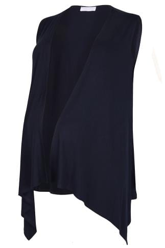Cardigans & Shrugs BUMP IT UP MATERNITY Navy Longline Sleeveless Waterfall Wrap 158071
