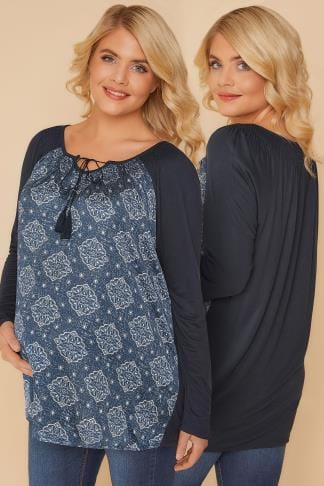 Tops & T-Shirts BUMP IT UP MATERNITY Navy Mandala Swing Top With Lace Up Neck 158053