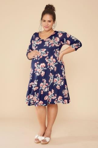 BUMP IT UP MATERNITY Navy & Peach Floral Print Dress With Half Sleeves 101007