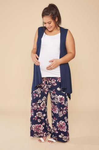 Trousers BUMP IT UP MATERNITY Navy & Purple Floral Palazzo Trousers 158015