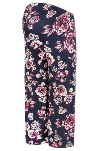 BUMP IT UP MATERNITY Navy & Purple Floral Palazzo Trousers