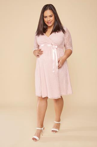 Dresses BUMP IT UP MATERNITY Pink Lace Wrap Dress With Ribbon Tie 158033