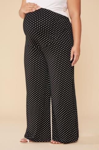 Trousers BUMP IT UP MATERNITY Polka Dot Palazzo Trousers With Comfort Panel 056348