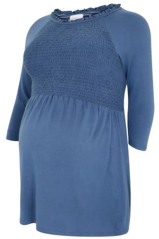 BUMP IT UP MATERNITY Steel Blue Top With Ruched Bust