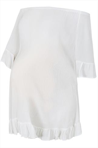 BUMP IT UP MATERNITY White Gypsy Crinkle Longline Top