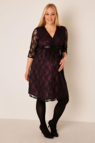 BUMP IT UP MATERNITY Wine & Black Lace Wrap Dress With Ribbon Tie