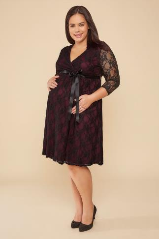 BUMP IT UP MATERNITY Wine & Black Lace Wrap Dress With Ribbon Tie 158013