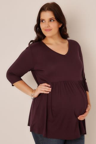 BUMP IT UP MATERNITY Wine Ruched Waist Longline Top
