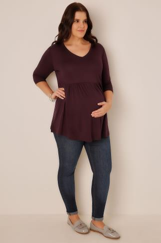 Tops & T-Shirts BUMP IT UP MATERNITY Wine Ruched Waist Longline Top 158006