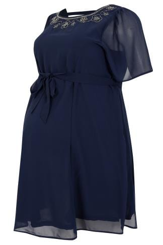 Dresses BUMP IT UP MATERNITY Navy Chiffon Skater Dress With Embellished Neckline 158066