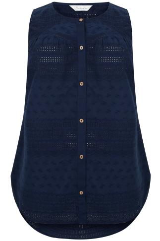 BURNHAM BAY Navy Embroidered Detail Sleeveless Blouse